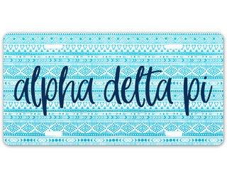 Alpha Delta Pi Aztec License Plate