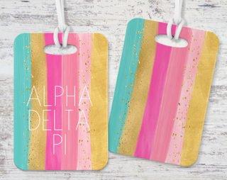 Alpha Delta Pi Bright Stripes Luggage Tag