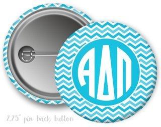 Alpha Delta Pi Chevron Monogram Button