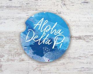 Alpha Delta Pi Sandstone Car Cup Holder Coaster