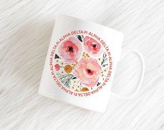 Alpha Delta Pi Floral Circle Mug