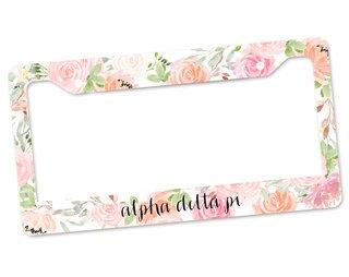 Alpha Delta Pi Floral License Plate Frame