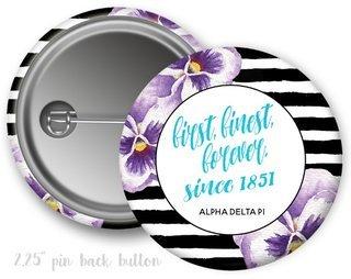 Alpha Delta Pi Floral Motto Button