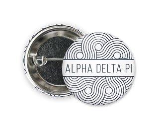 Alpha Delta Pi Geo Scroll Button Pin