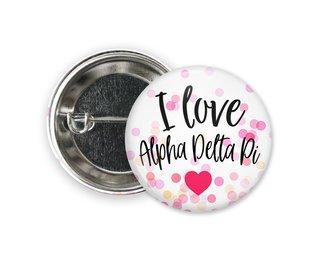 Alpha Delta Pi I Love Heart Bursting Button