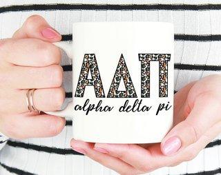 Alpha Delta Pi Leopard Mug