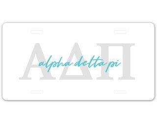 Alpha Delta Pi Letter Script License Plate