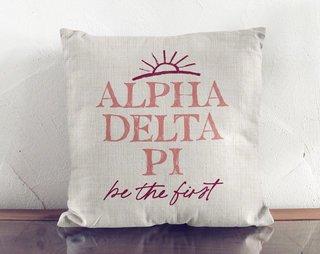 Alpha Delta Pi Linen Sun Pillow