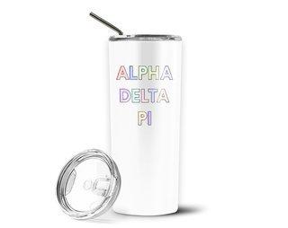 Alpha Delta Pi Pastel Letters Outline Stainless Tumbler