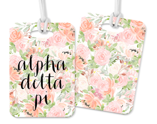 Alpha Delta Pi Personalized Pink Floral Luggage Tag