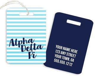 Alpha Delta Pi Personalized Striped Luggage Tag