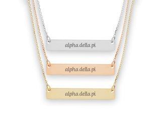 Alpha Delta Pi Script Bar Necklace