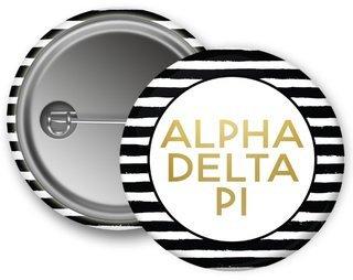 Alpha Delta Pi Striped Button