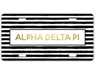 Alpha Delta Pi Striped Gold License Plate