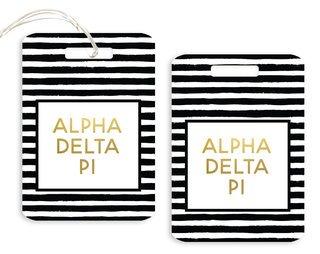Alpha Delta Pi Striped Gold Luggage Tag