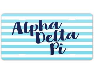 Alpha Delta Pi Striped License Plate