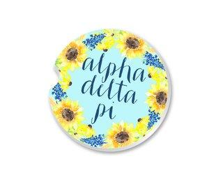 Alpha Delta Pi Sunflower Car Coaster