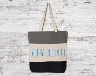 Alpha Delta Pi Tri Color Tote Bag