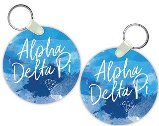 Alpha Delta Pi Watercolor Script Keychain