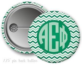 Alpha Epsilon Phi Chevron Monogram Button