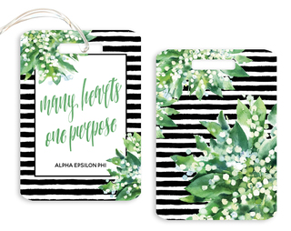 Alpha Epsilon Phi Floral Motto Luggage Tag