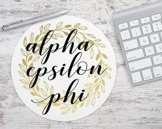 Alpha Epsilon Phi Gold Wreath Mousepad