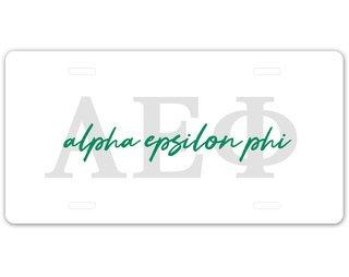 Alpha Epsilon Phi Letter Script License Plate