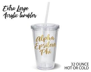 Alpha Epsilon Phi Metallic Gold XL Tumbler