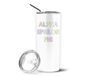 Alpha Epsilon Phi Pastel Letters Outline Stainless Tumbler