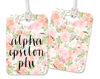 Alpha Epsilon Phi Personalized Pink Floral Luggage Tag