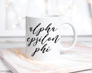Alpha Epsilon Phi Script Mug