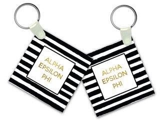 Alpha Epsilon Phi Striped Gold Keychain