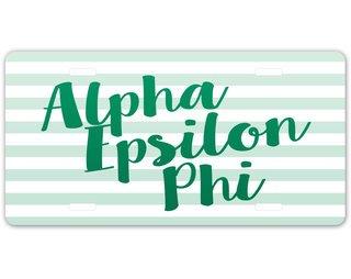 Alpha Epsilon Phi Striped License Plate