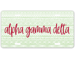 Alpha Gamma Delta Aztec License Plate