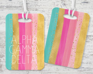 Alpha Gamma Delta Bright Stripes Luggage Tag
