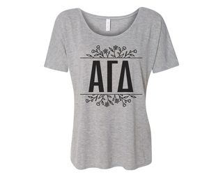 Alpha Gamma Delta Floral Letters Flowy Tee