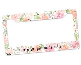 Alpha Gamma Delta Floral License Plate Frame