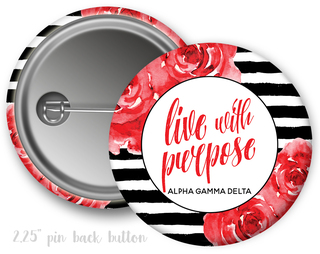 Alpha Gamma Delta Floral Motto Button