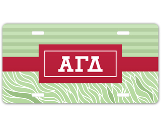 Alpha Gamma Delta Geometric License Plate