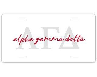 Alpha Gamma Delta Letter Script License Plate