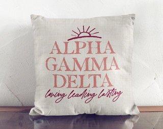 Alpha Gamma Delta Linen Sun Pillow