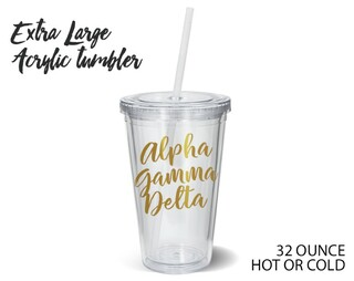 Alpha Gamma Delta Metallic Gold XL Tumbler
