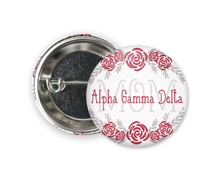 Alpha Gamma Delta Mom Floral Button