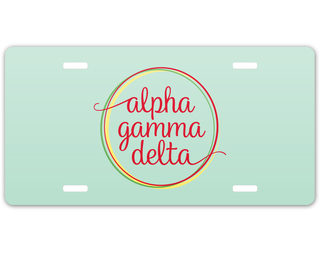 Alpha Gamma Delta Logo License Plate