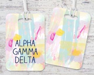 Alpha Gamma Delta Pastel Strokes Luggage Tag