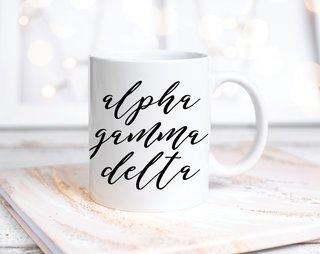 Alpha Gamma Delta Script Mug