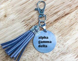 Alpha Gamma Delta Stainless Tassel Keychain