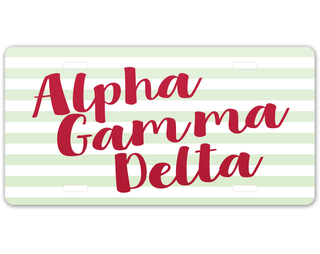 Alpha Gamma Delta Striped License Plate