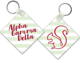 Alpha Gamma Delta Striped Mascot Keychain