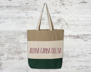 Alpha Gamma Delta Tri Color Tote Bag
